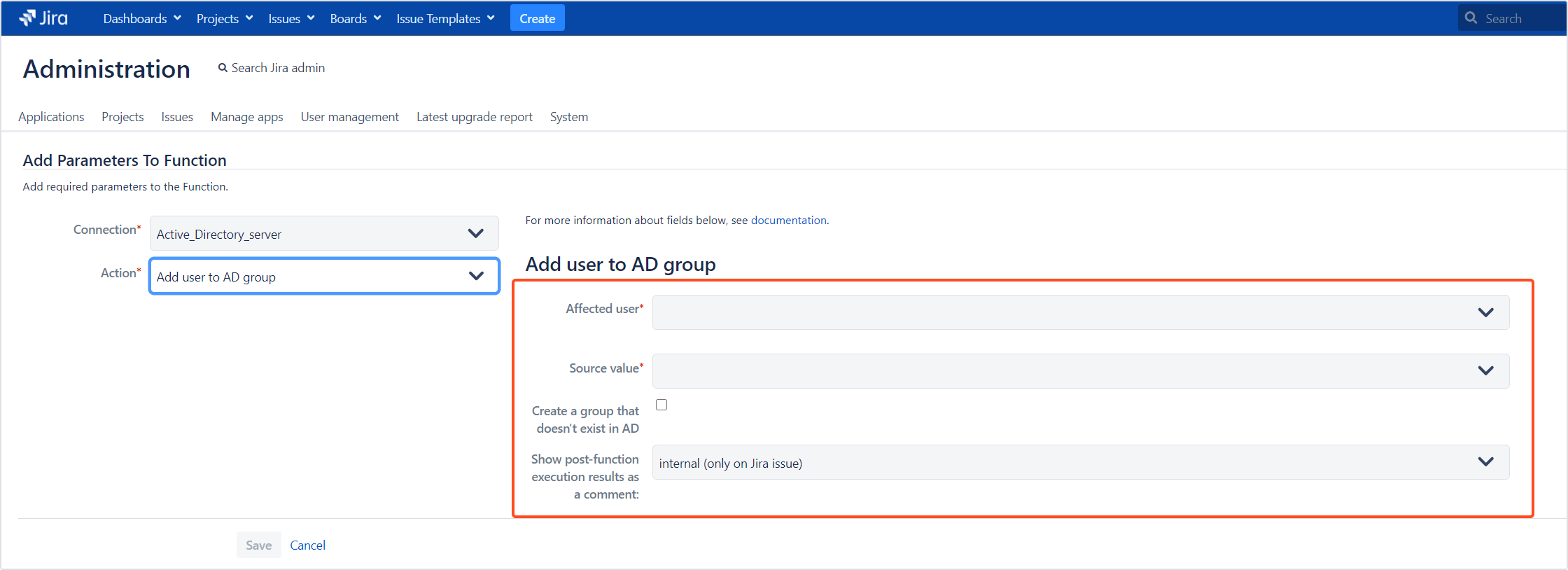 Active Directory Attributes Sync for Jira - Update Data: Add user to AD group
