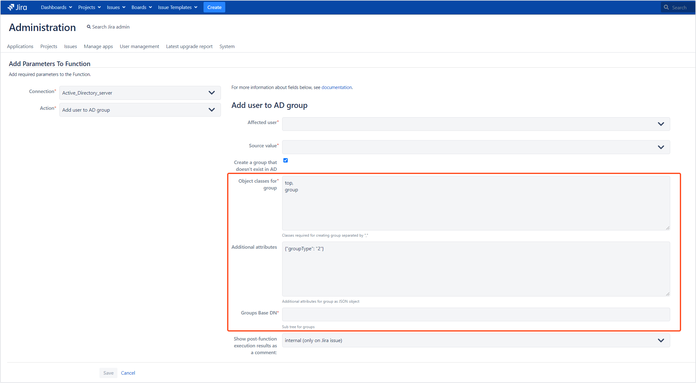 Active Directory Attributes Sync for Jira - Update Data: Creating a new AD group