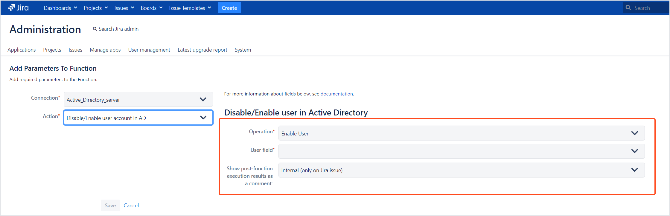 Active Directory Attributes Sync for Jira - Update Data: Disable/enable user account in AD