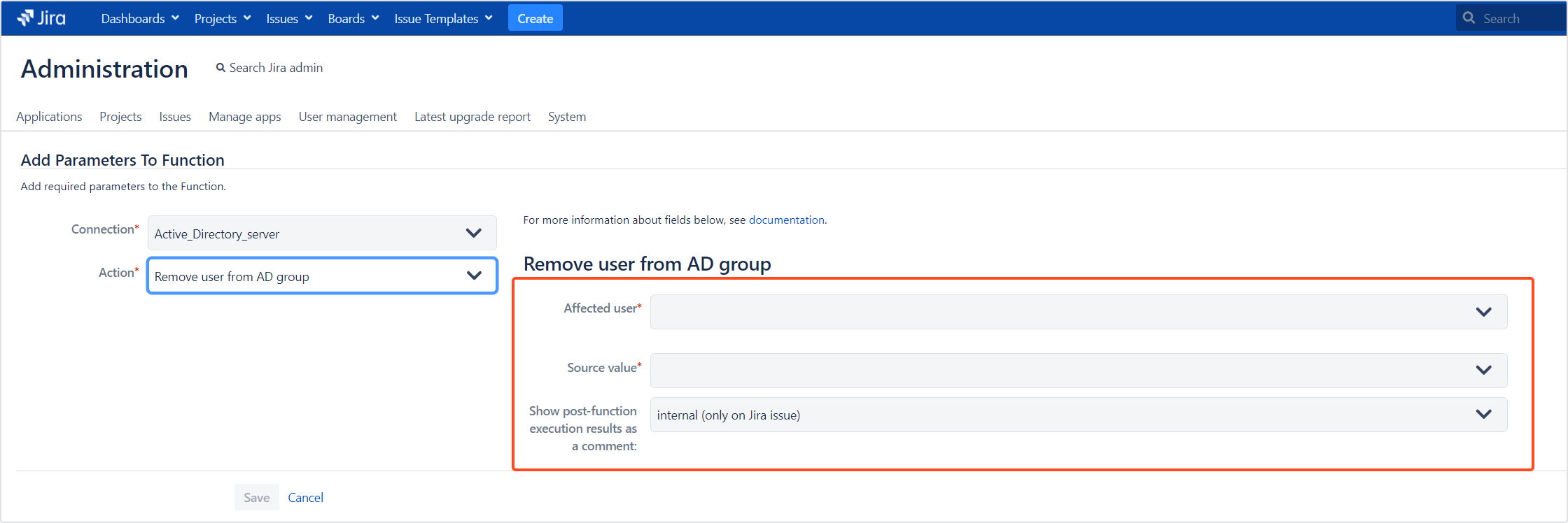 Active Directory Attributes Sync for Jira - Update Data: Remove user from AD group