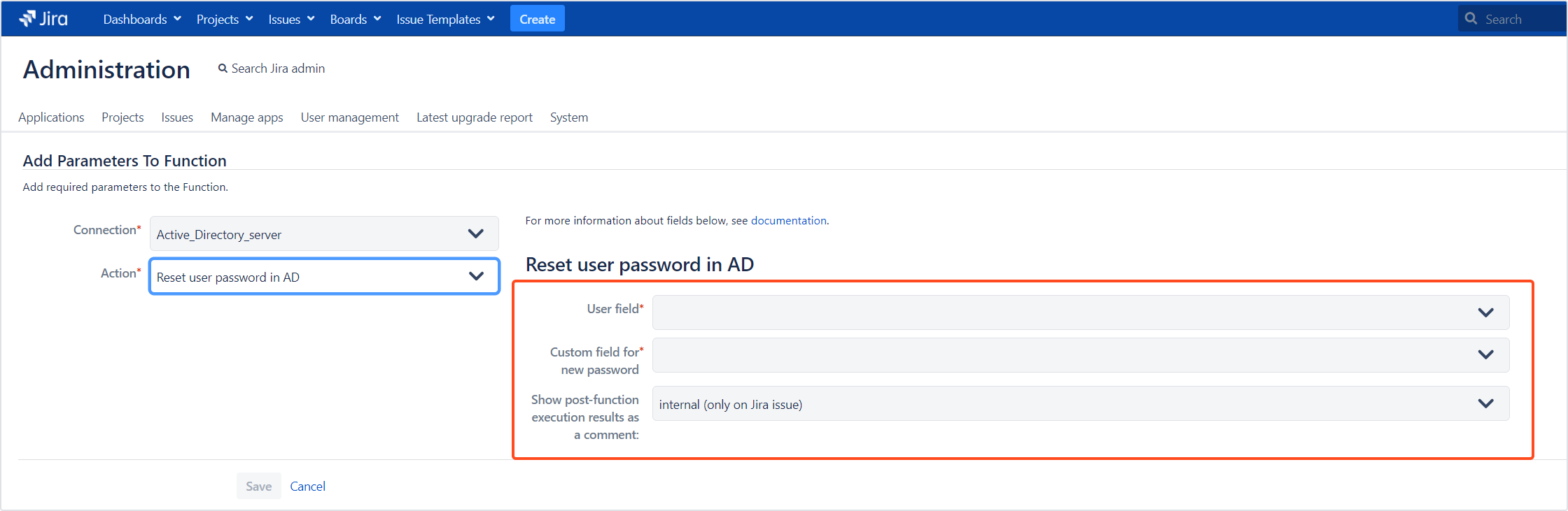 Active Directory Attributes Sync for Jira - Update Data: Reset user password in AD