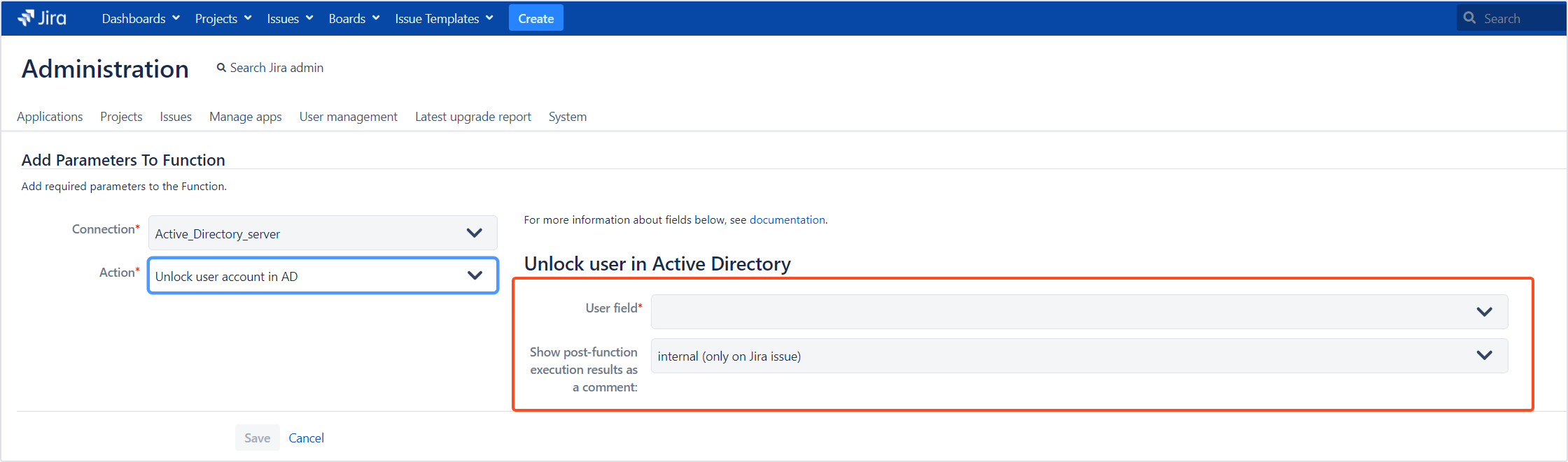 Active Directory Attributes Sync for Jira - Update Data: Unlock user account in AD