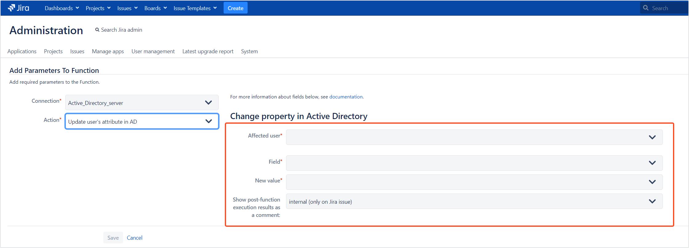 Active Directory Attributes Sync for Jira - Update Data: Update user's attribute in AD