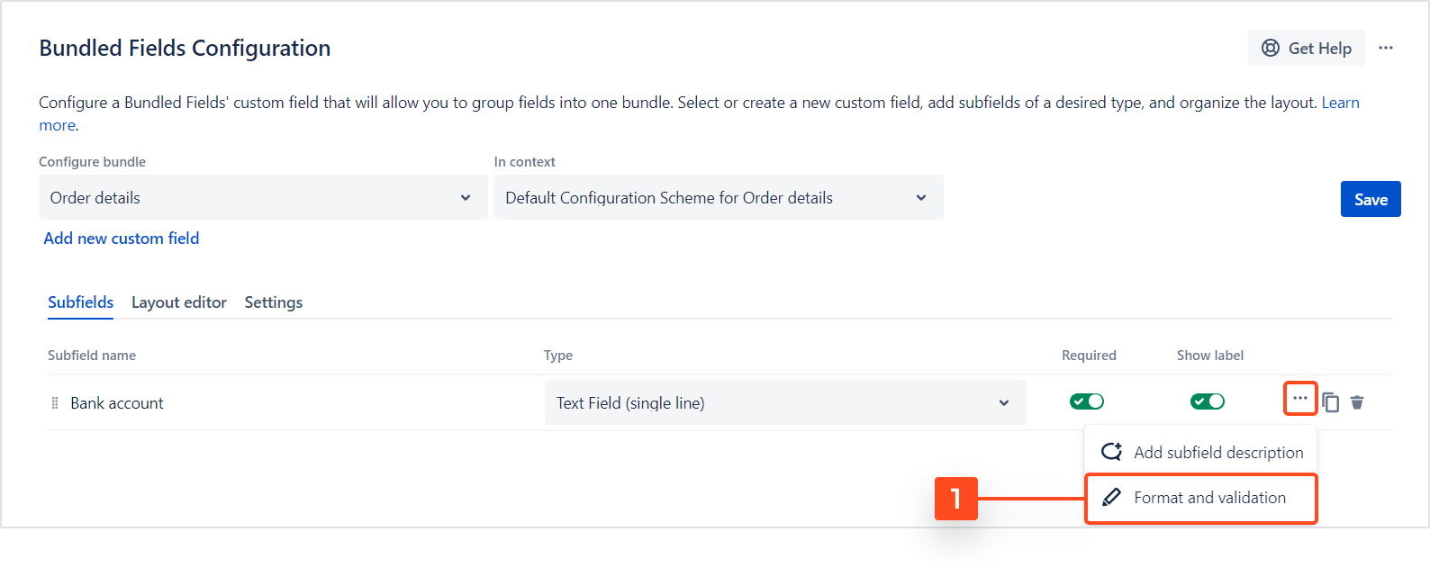 Bundled Fields Configuration - Format and Validation