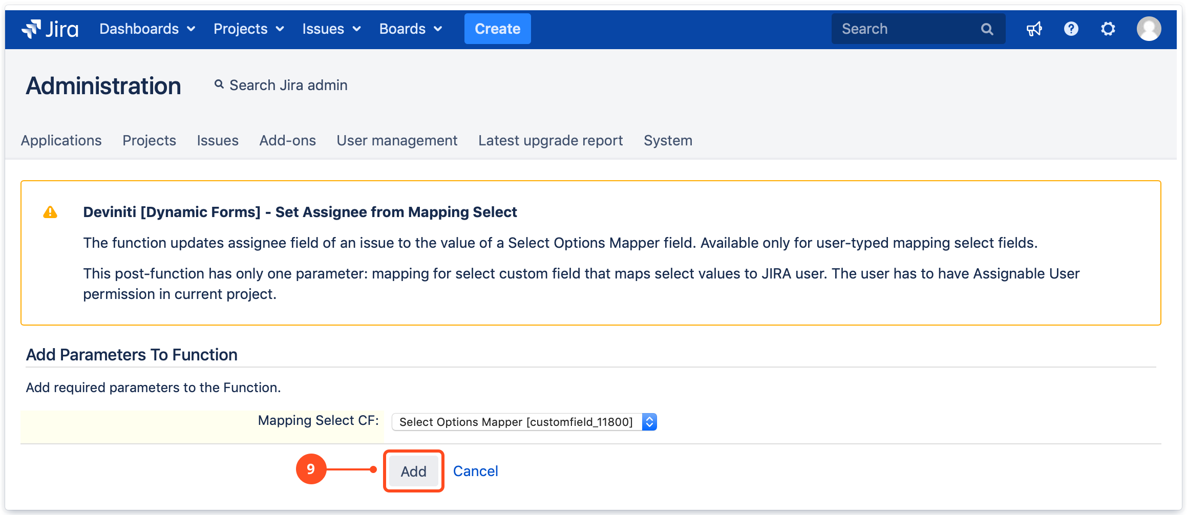 Set Assignee from Mapping Select post function