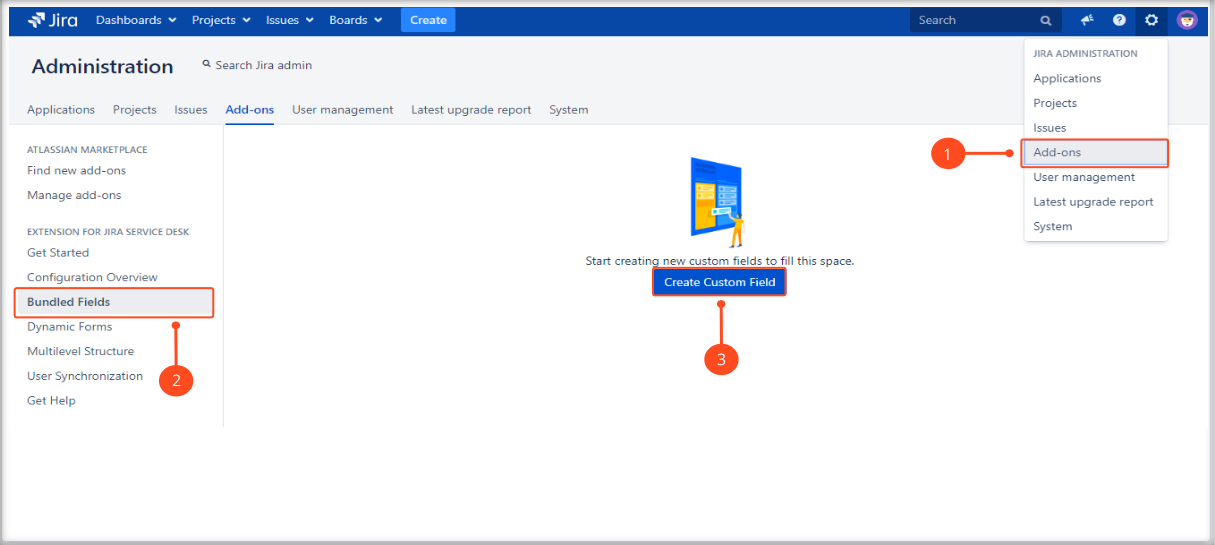 Creating a Bundled Field configuration with Extension for Jira Service Desk by adding a custom field
