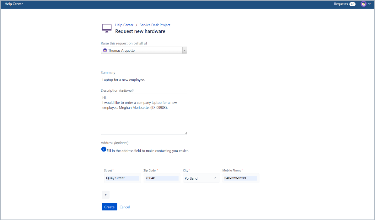 Creating a request with horizontal alignment in Bundled Fields with Extension for Jira Service Desk