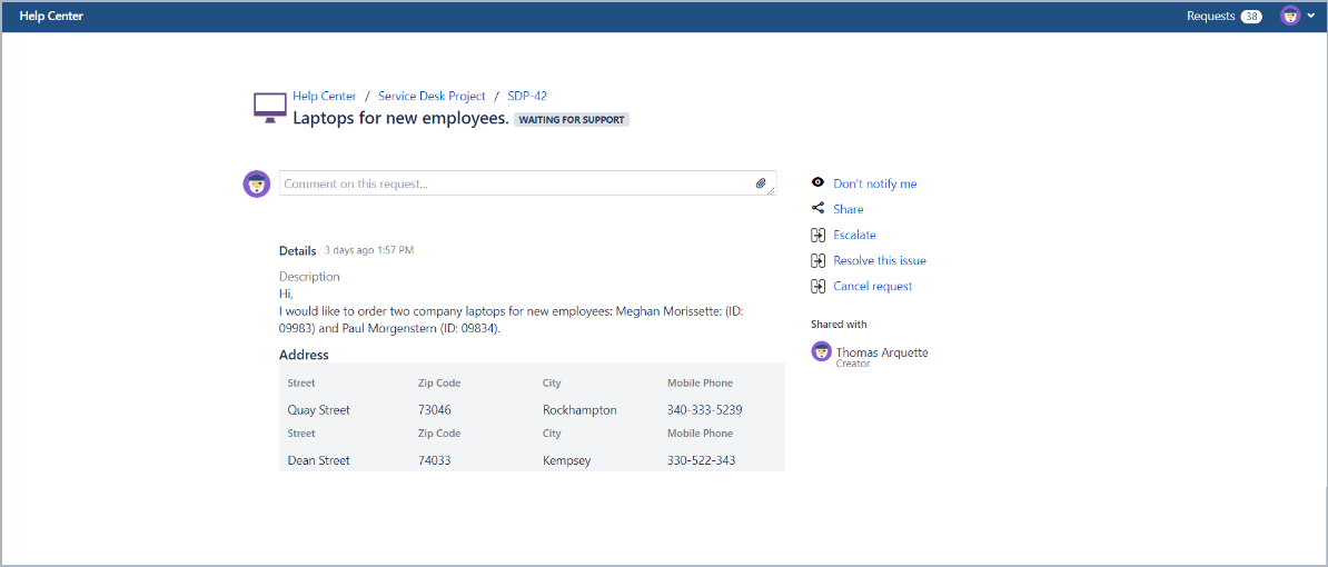 Example of request with horizontal alignment in Bundled Fields with Extension for Jira Service Desk