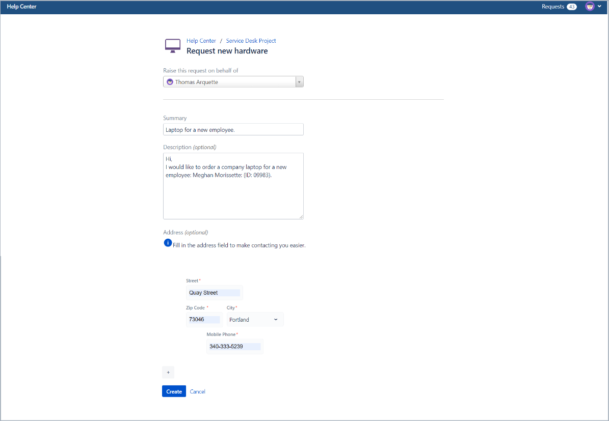 Creating a request with Layout settings in Bundled Fields with Extension for Jira Service Desk