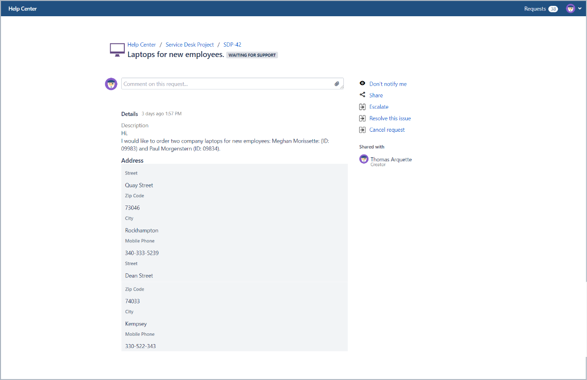 Example of request with vertical alignment in Bundled Fields with Extension for Jira Service Desk