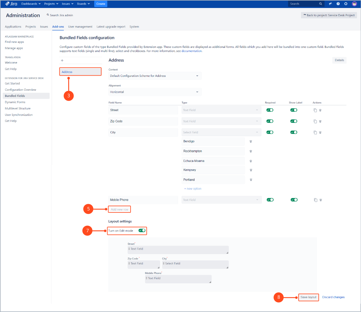 The next step of creating a Bundled Custom Field configuration with Extension for Jira Service Desk is setting a context, number of rows, alignment, field name and type, required and show label option