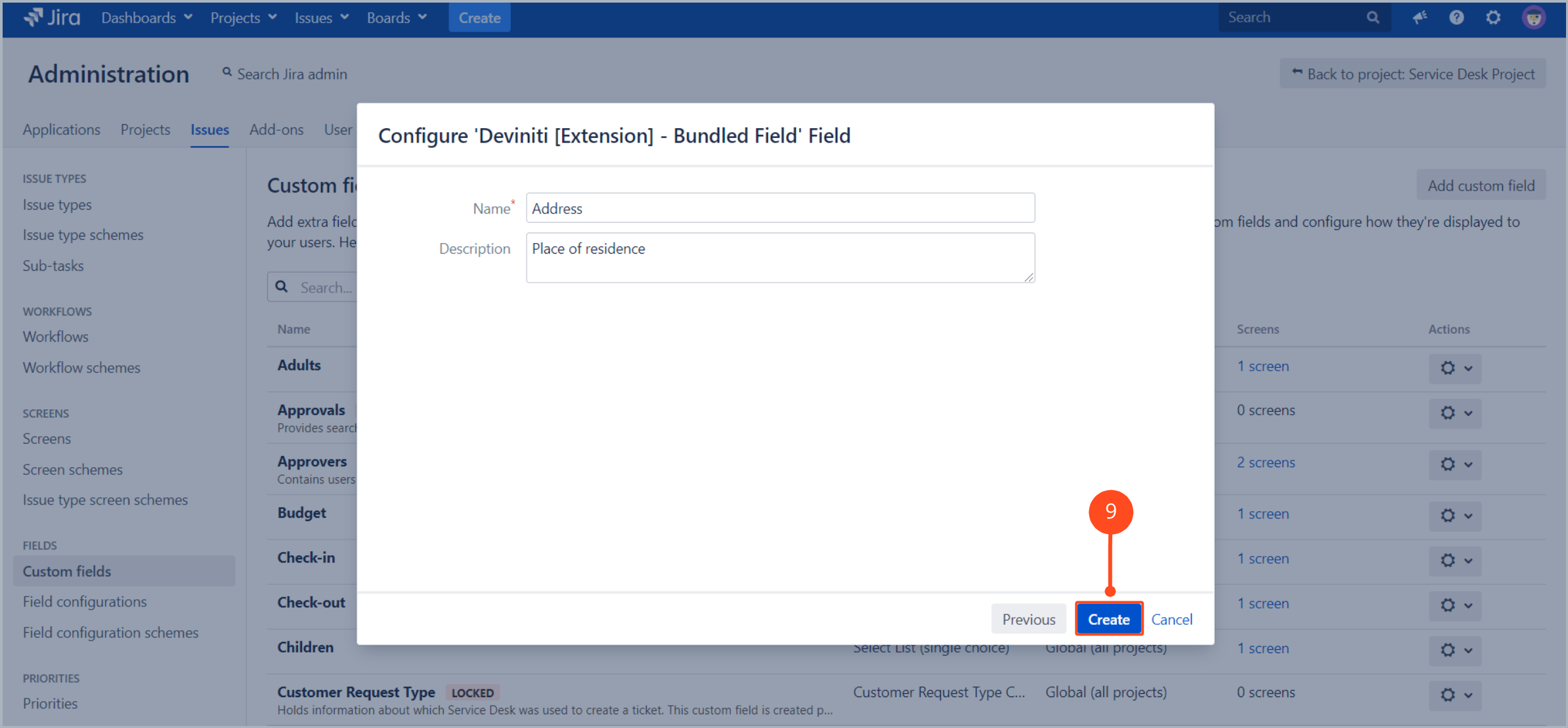 Now you can type a name and description of bundled fields with Extension for Jira Service Desk