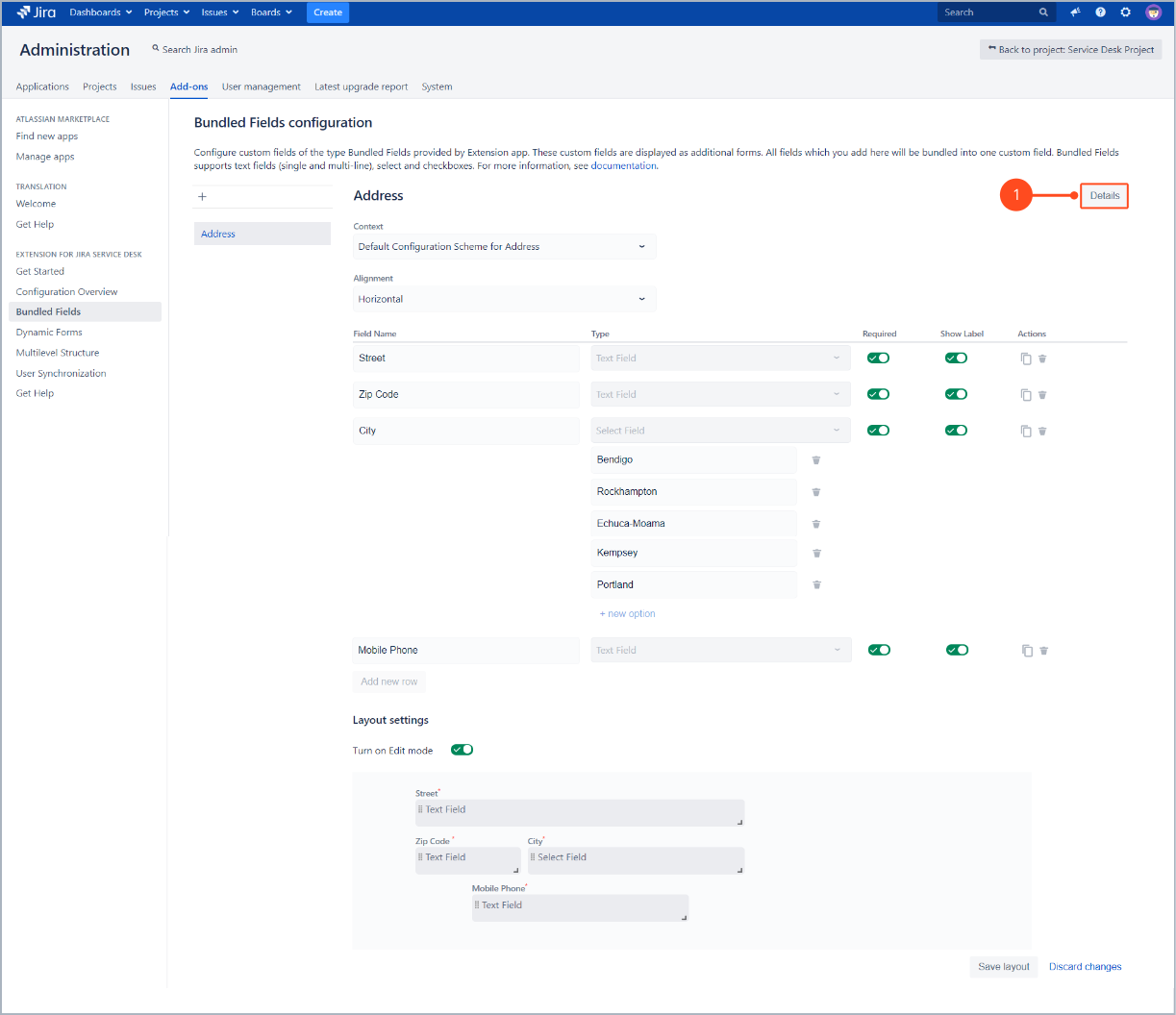 Go to configuration details of Bundled Fields with Extension for Jira Service Desk