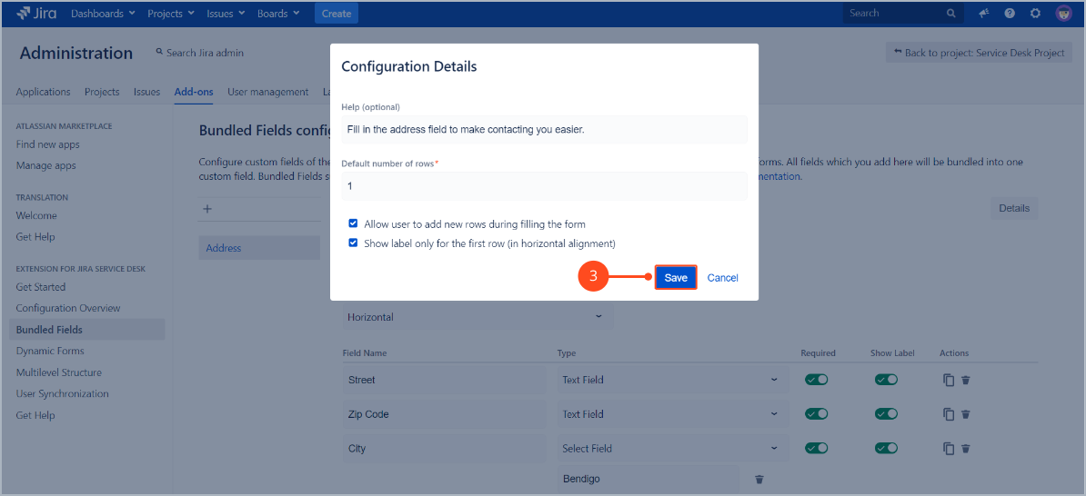 Configuration details of Bundled Fields with Extension for Jira Service Desk