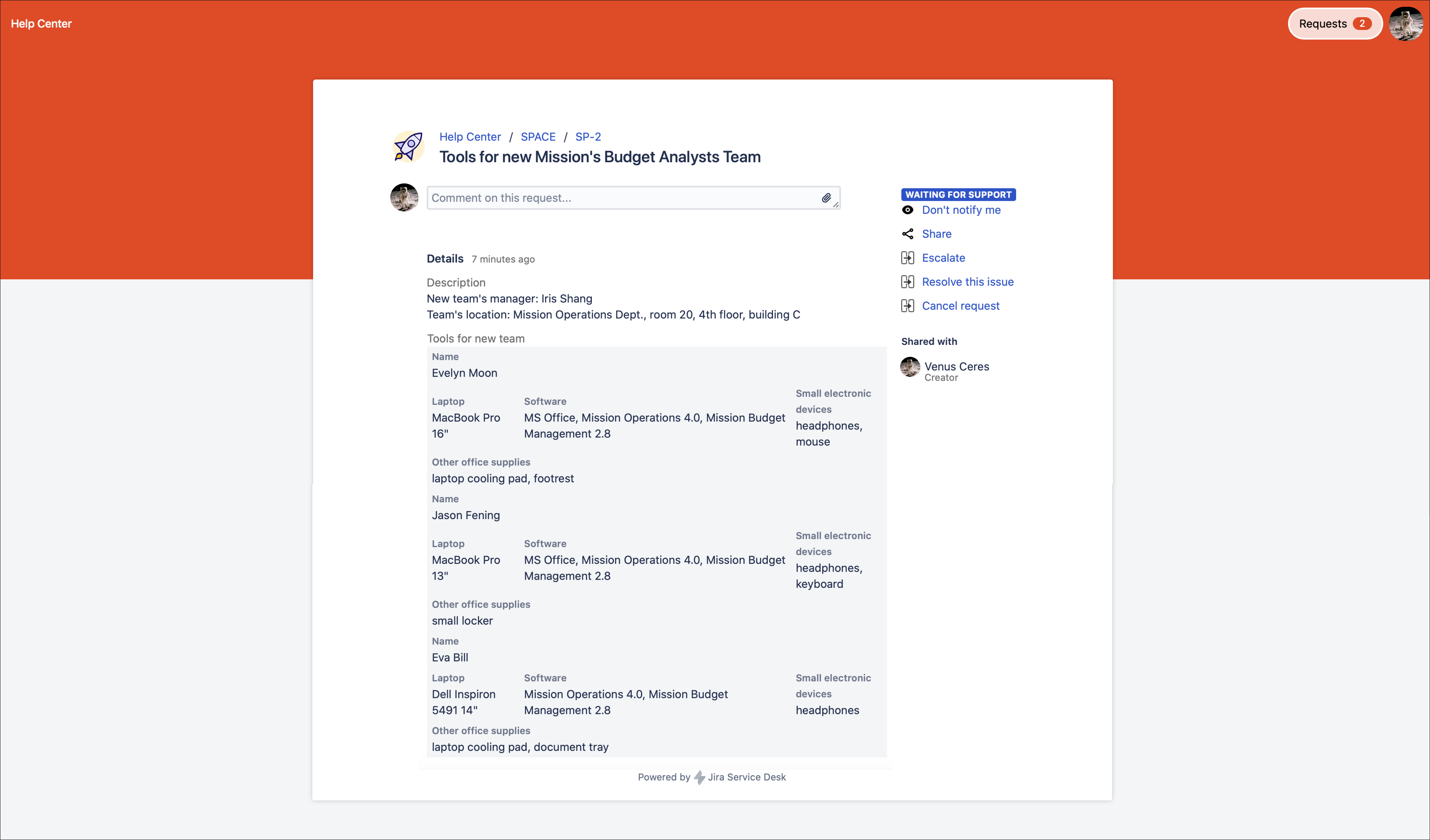 Creating a request with custom alignment in Bundled Fields with Extension for Jira Service Management