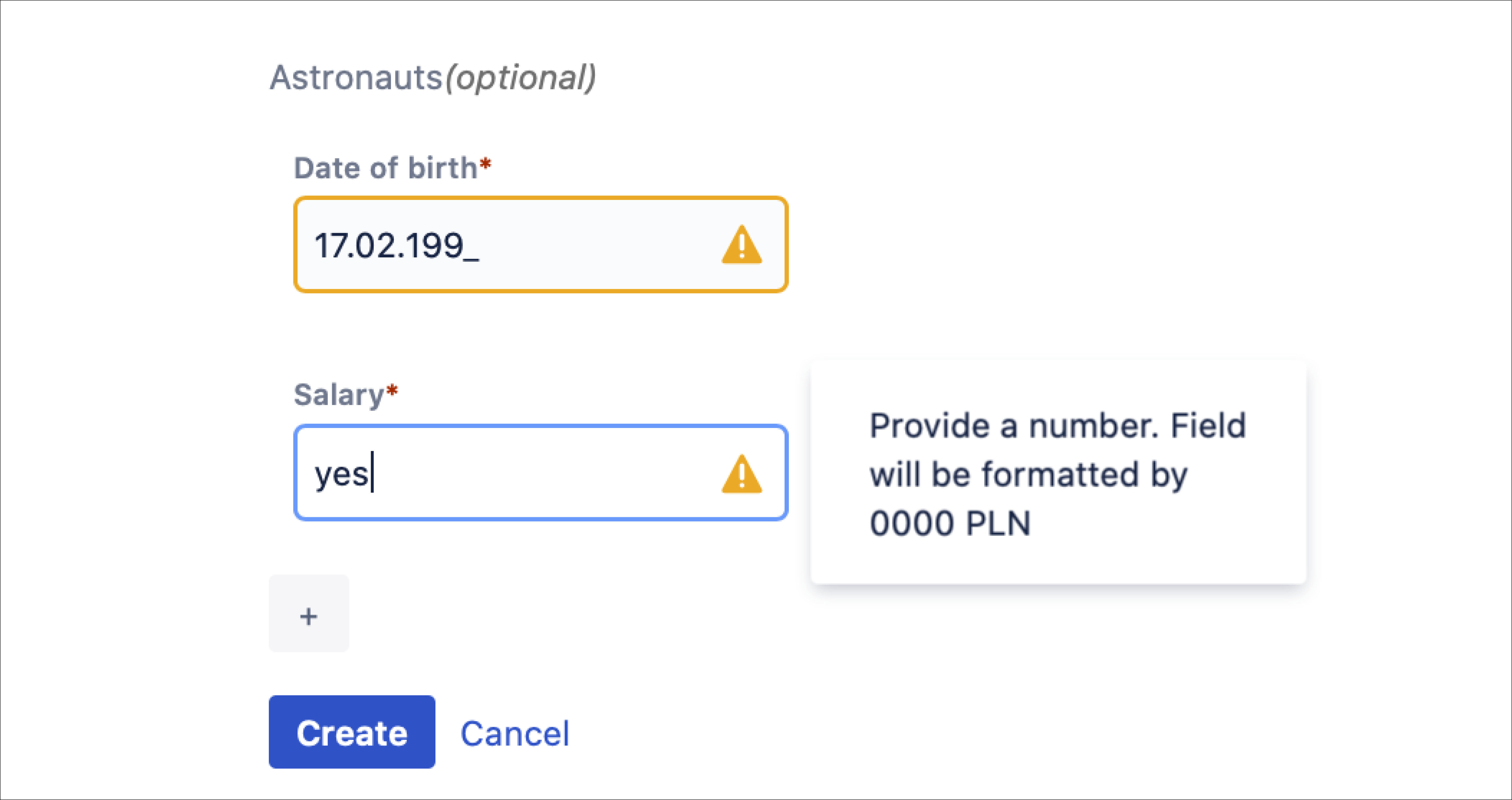 Bundled Fields format and validation
