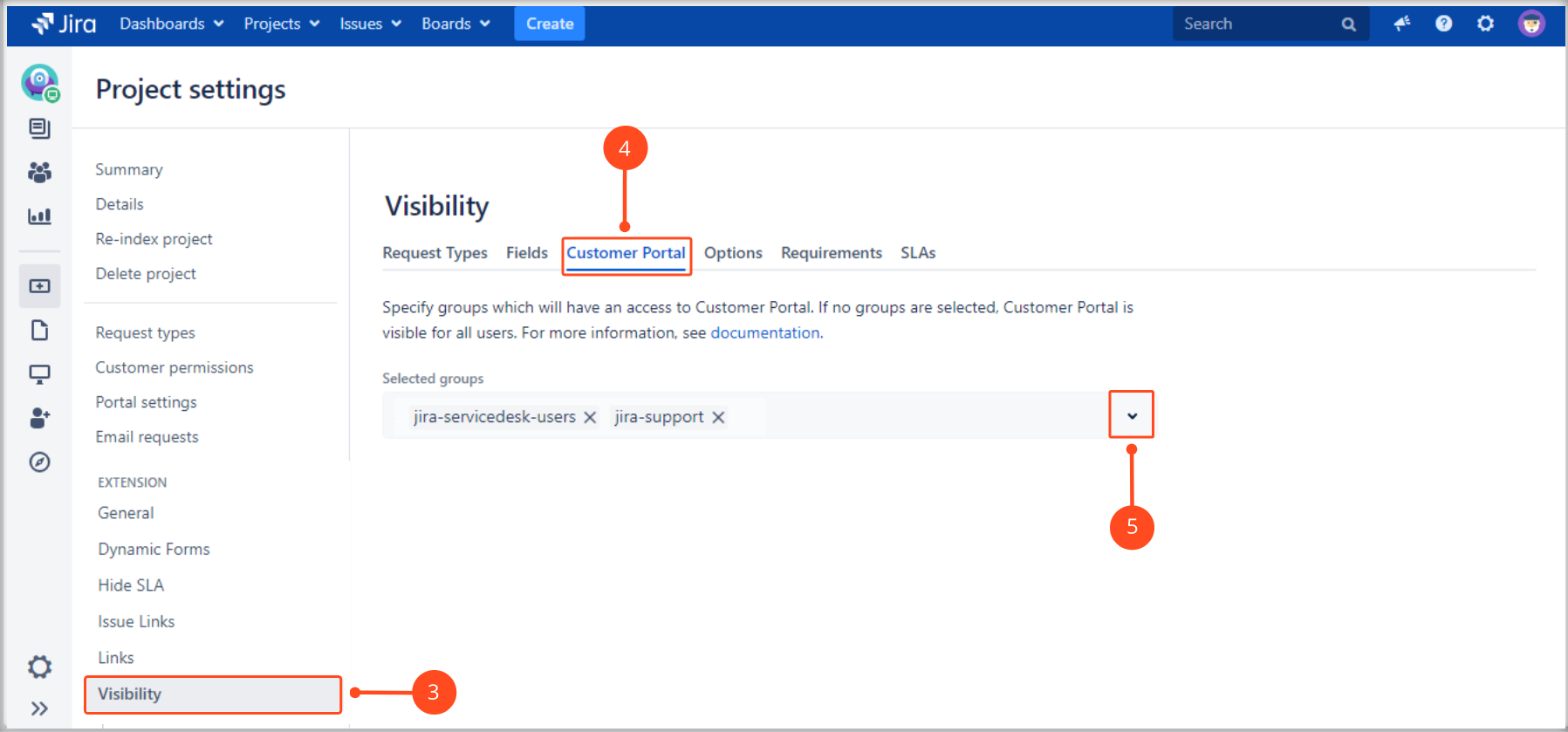 Setting a visibility with Extension for Jira Service Management by giving specific groups an access to the Customer Portal