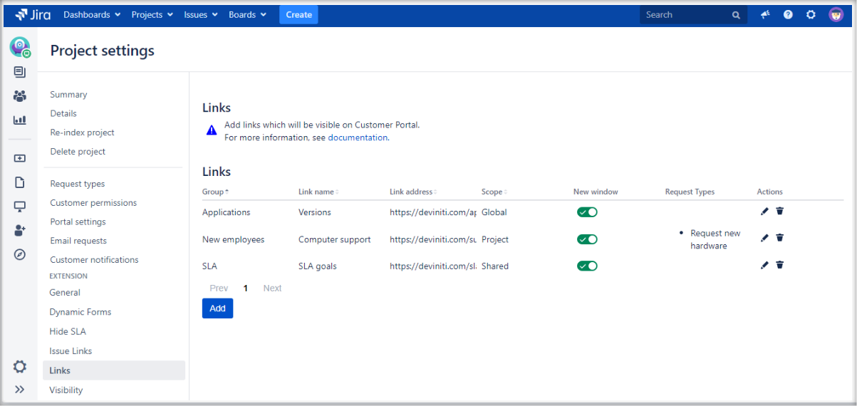 Adding links at the top of the screen on the Customer Portal with Extension for Jira Service Management by adding configurations to the list