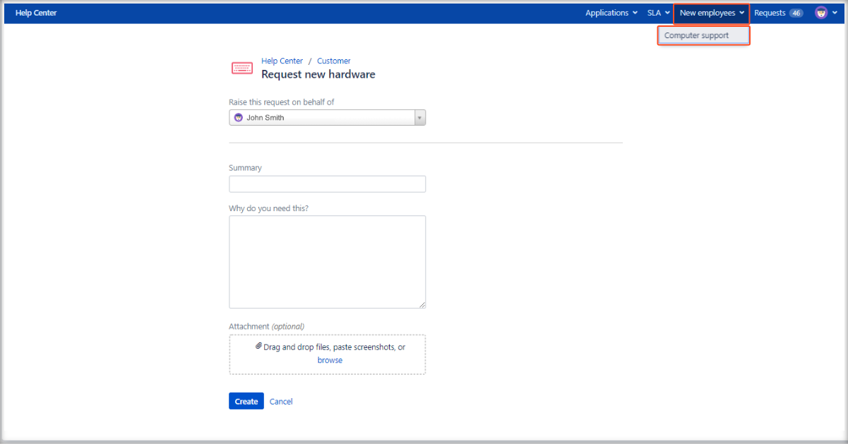 Now you can see added links at the top of the screen on the Customer Portal with Extension for Jira Service Management