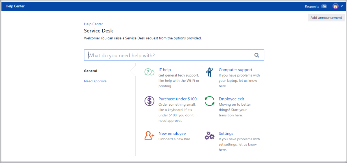 Now you can see a splitting column with Extension for Jira Service Management on the Customer Portal