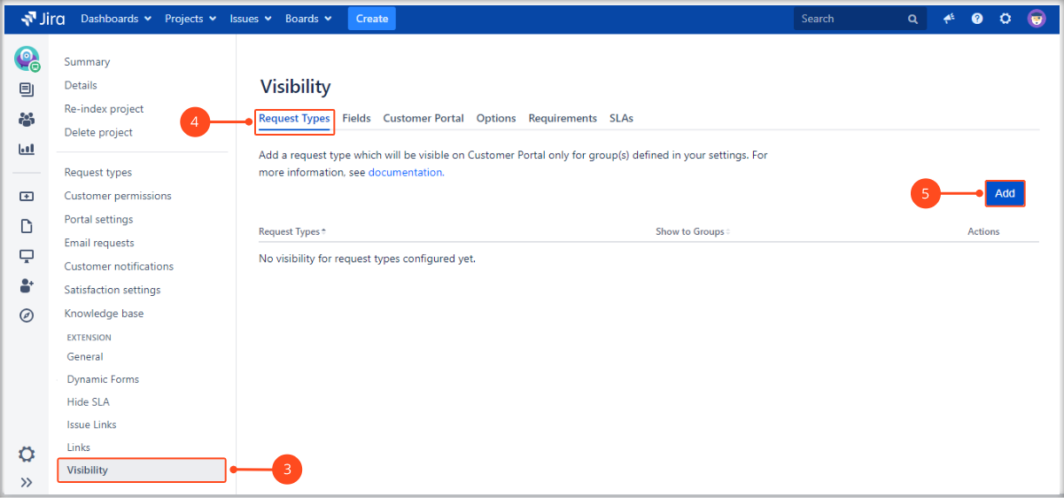 Setting Request Types visibility with Extension for Jira Service Management on the Customer Portal
