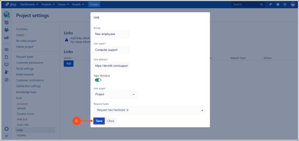 Adding links at the top of the screen on the Customer Portal with Extension for Jira Service Management by adding a group, link name, link address, scope and request types