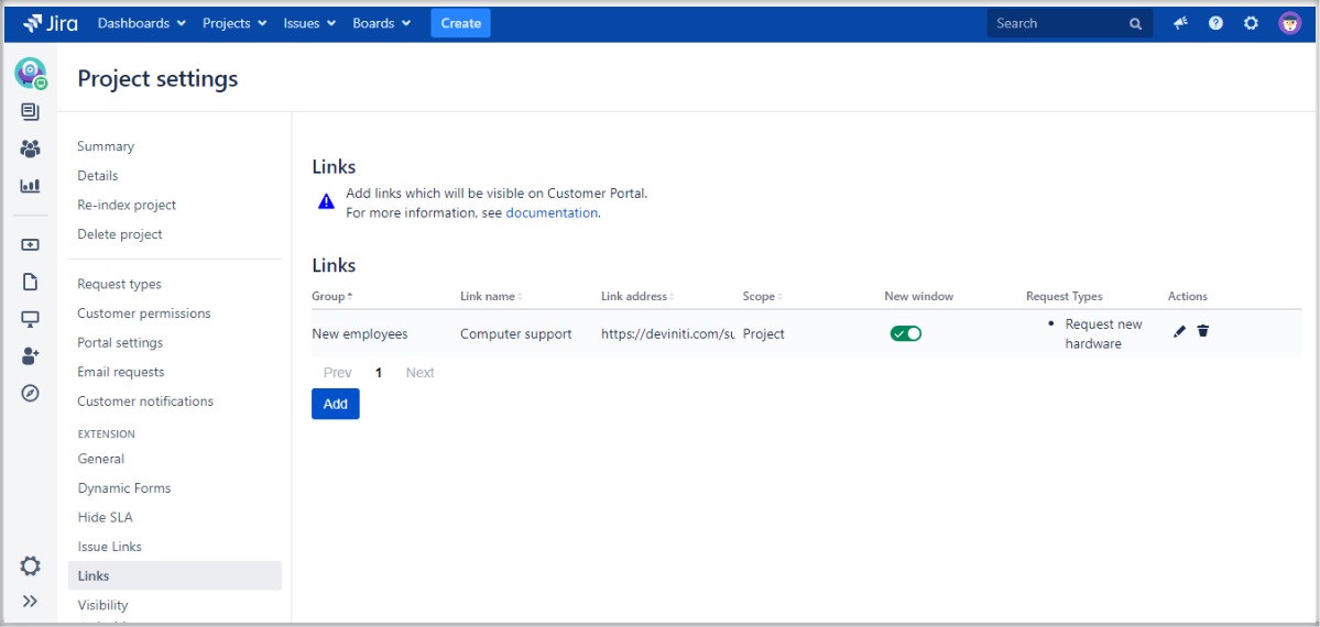 Adding links at the top of the screen on the Customer Portal with Extension for Jira Service Management by adding a configuration to the list