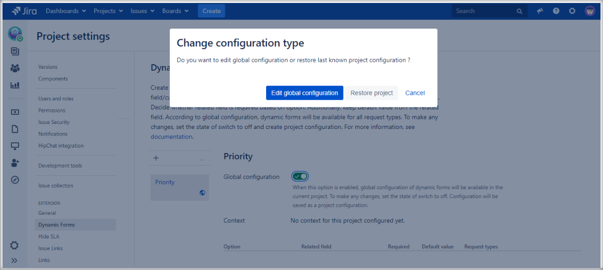 Extension for Jira Service Management: change Dynamic Forms configuration type