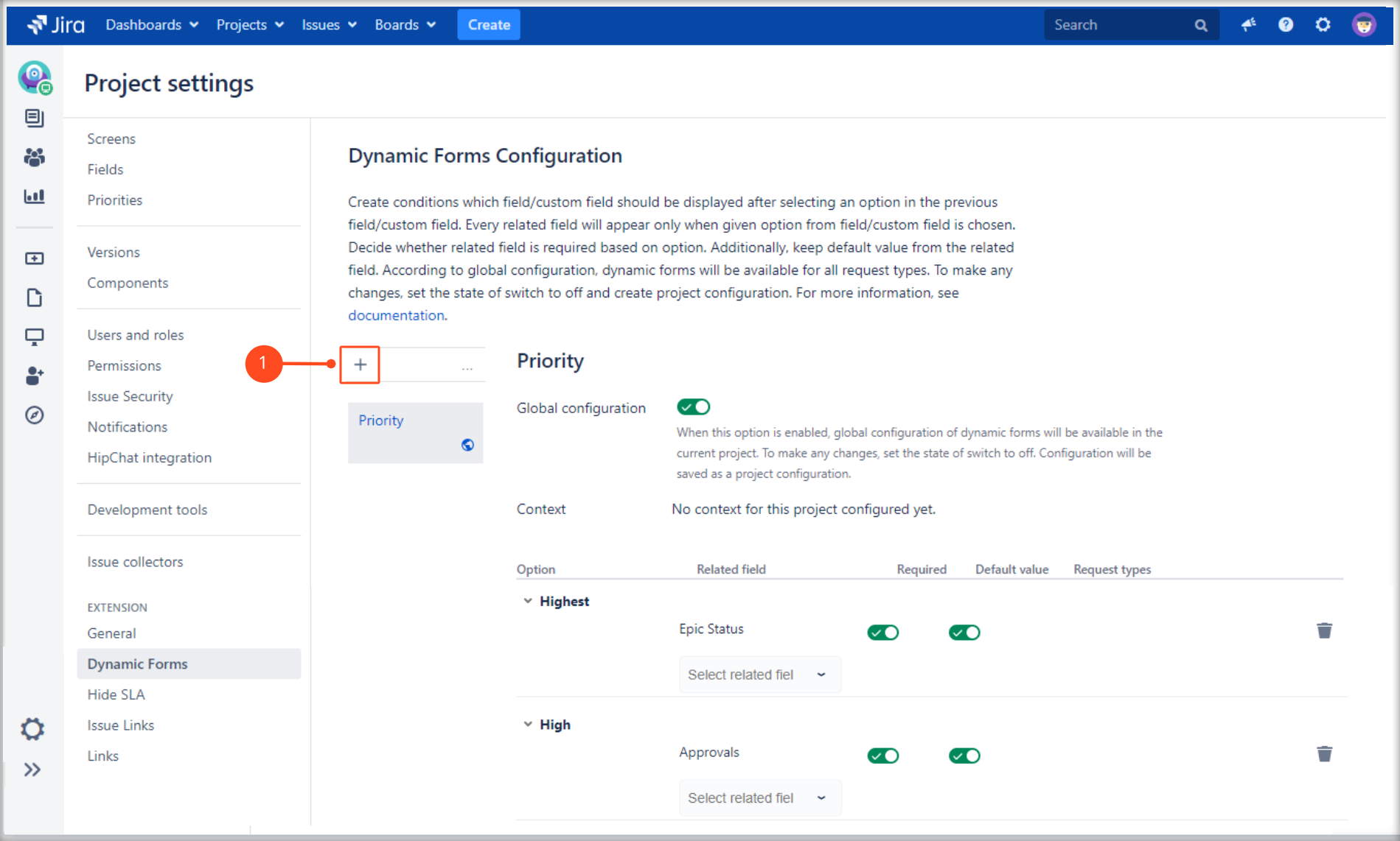 Adding a new Dynamic Forms Project Configuration with Extension for Jira Service Management