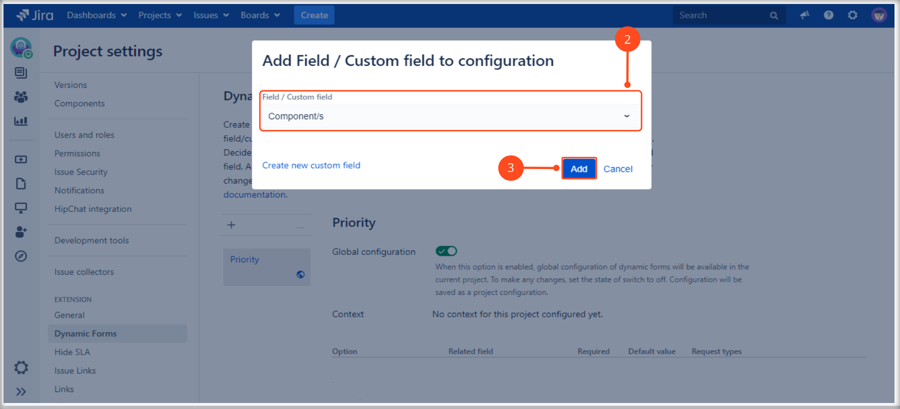 Creating a Dynamic Forms Project Configuration with Extension for Jira Service Management by adding a field/custom field