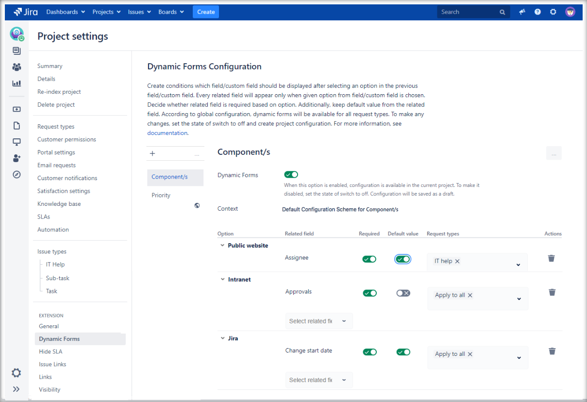 Extension for Jira Service Management: Dynamic Forms Project Configuration