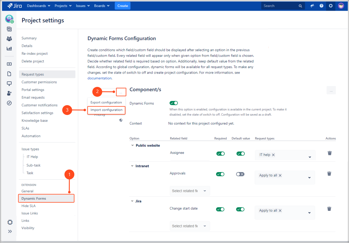 Import a Dynamic Forms Project Configuration with Extension for Jira Service Management