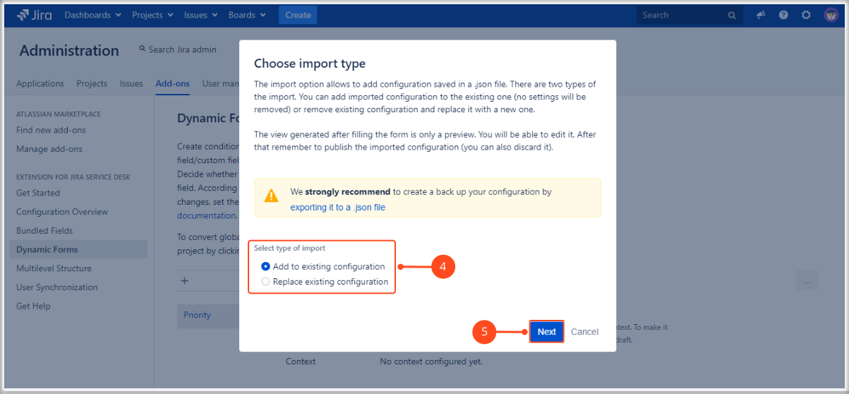 Import a Dynamic Forms Global Configuration with Extension for Jira Service Management by choosing the import type