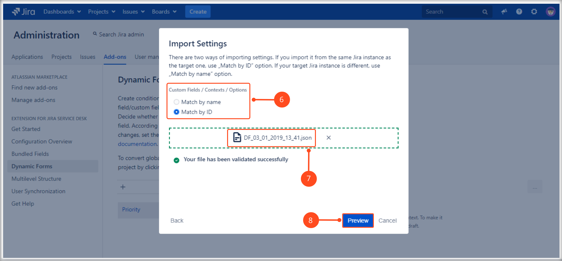 Import a Dynamic Forms Global Configuration with Extension for Jira Service Management