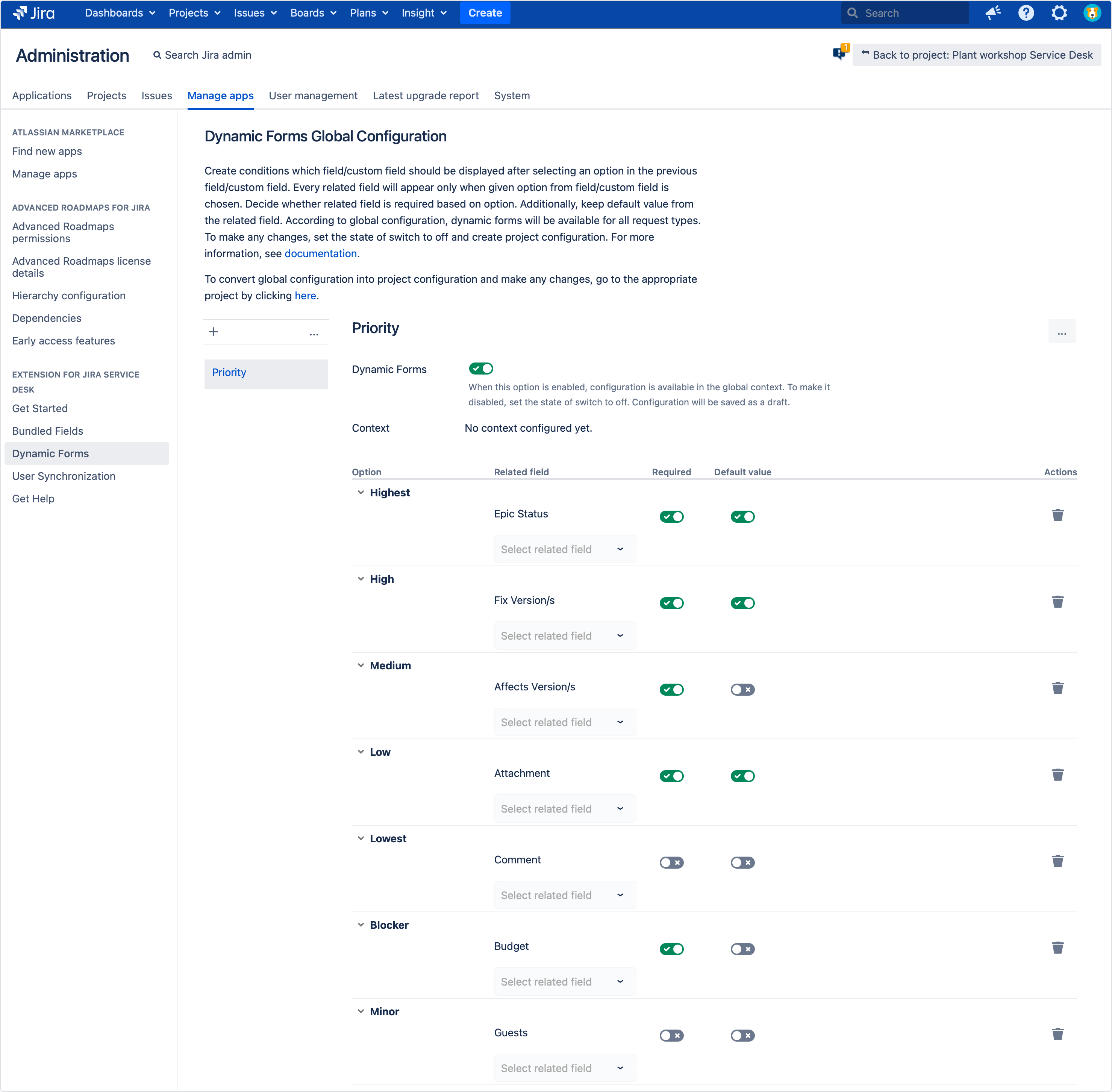 Creating a Dynamic Forms Global Configuration with Extension for Jira Service Management by setting a field option, related field, required and default value option