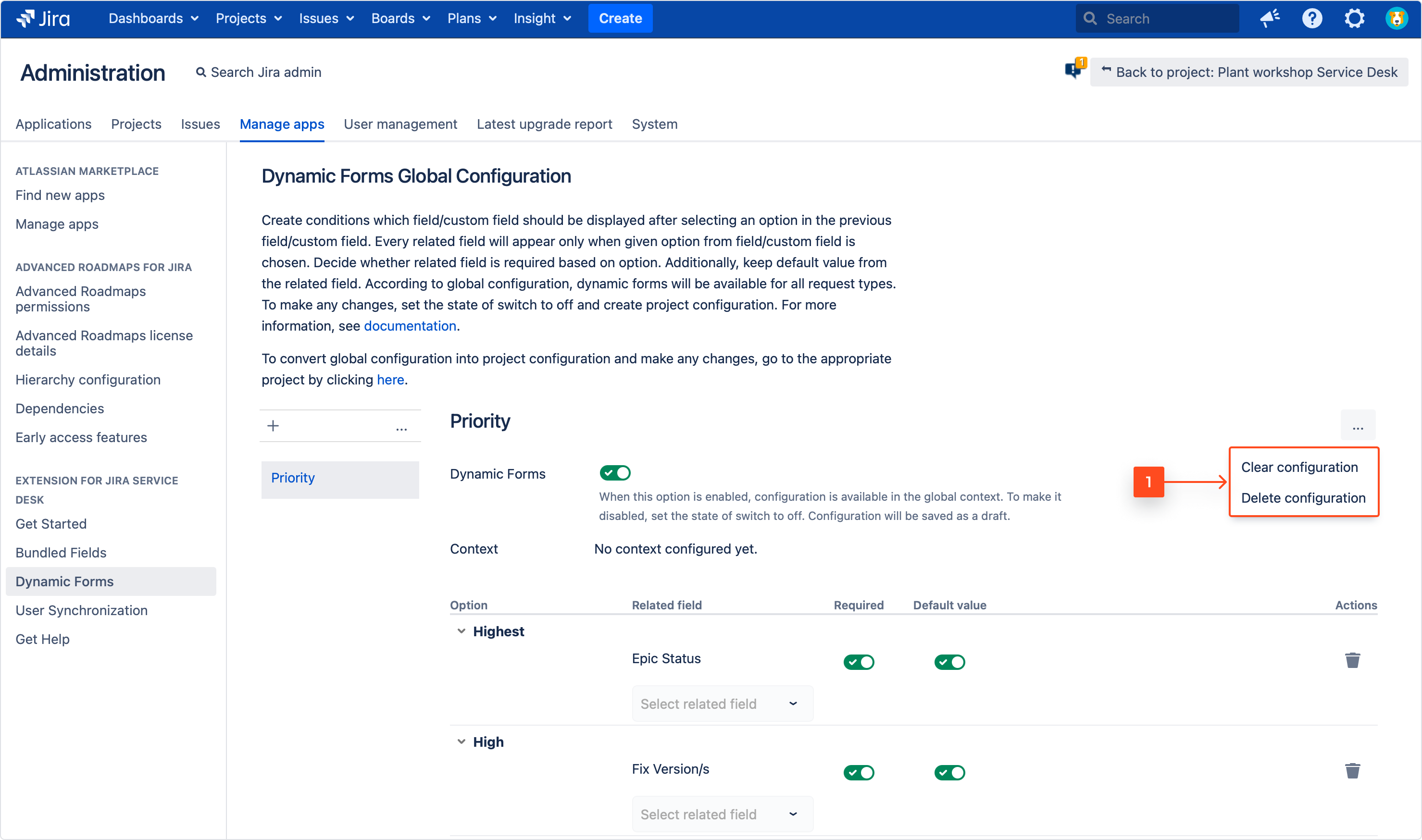 Extension for Jira Service Management: Dynamic Forms Global Configuration