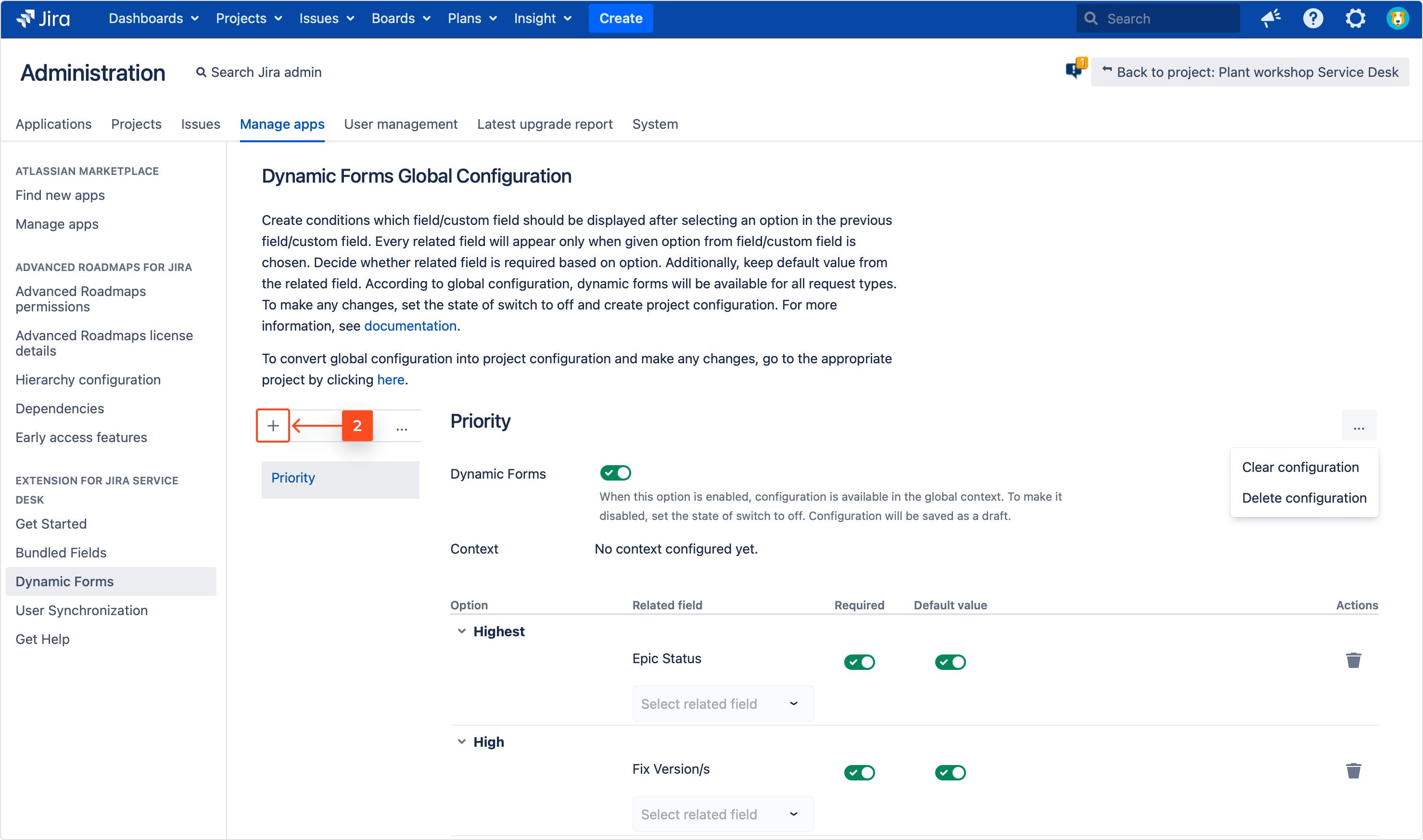 Adding a new Dynamic Forms Global Configuration with Extension for Jira Service Management