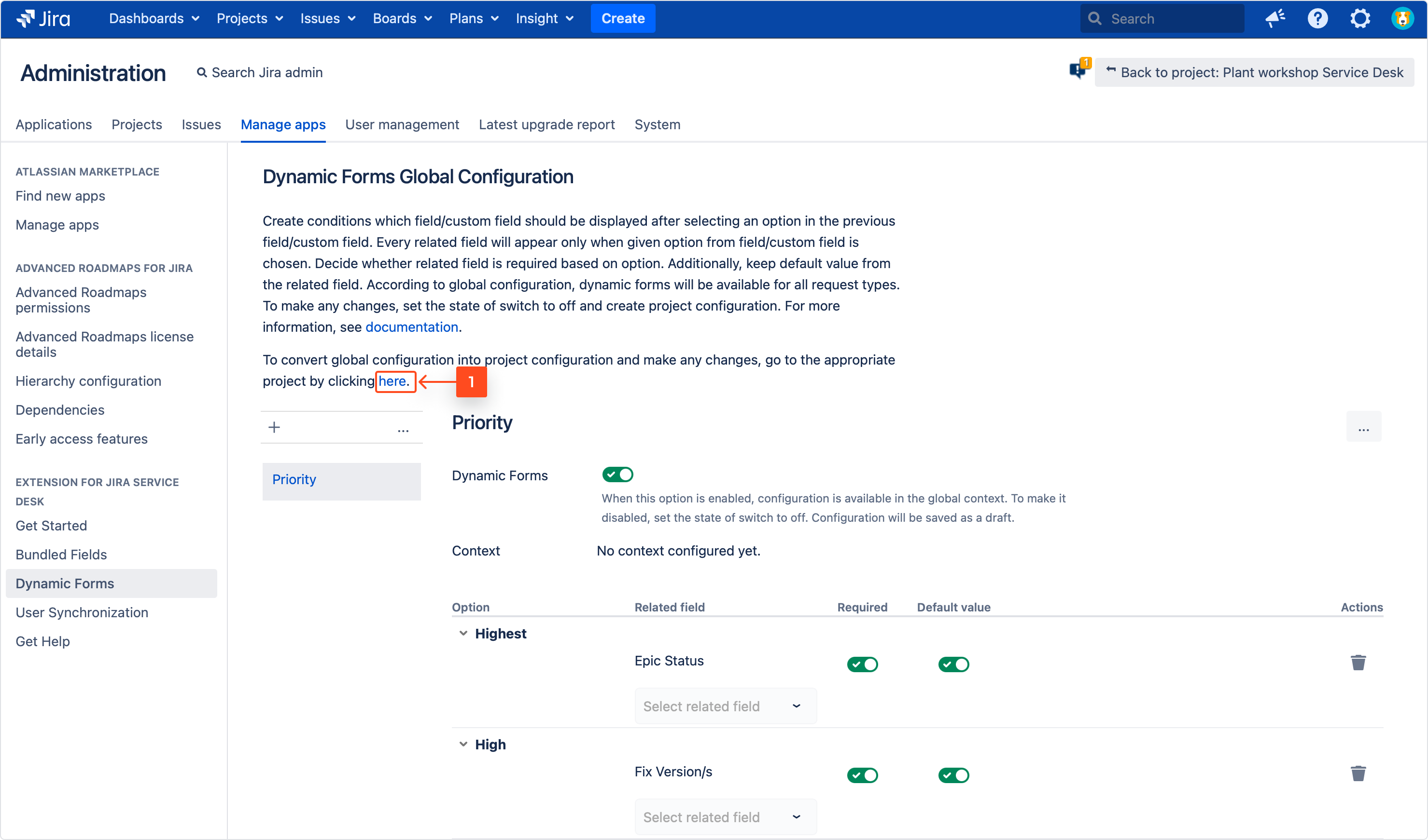 Converting a global configuration into the project configuration with Extension for Jira Service Management