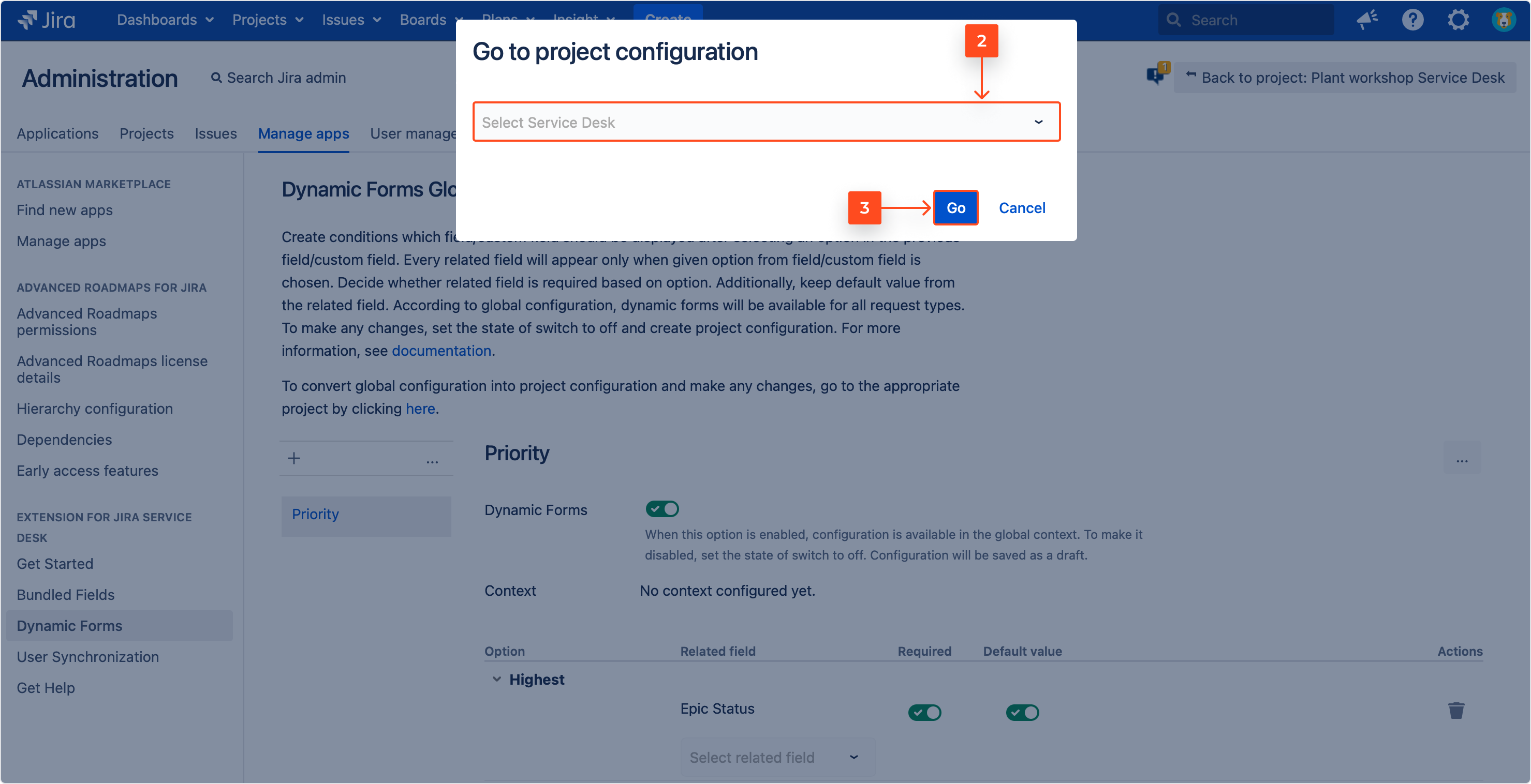 Converting a global configuration into the project configuration with Extension for Jira Service Management by selecting service project