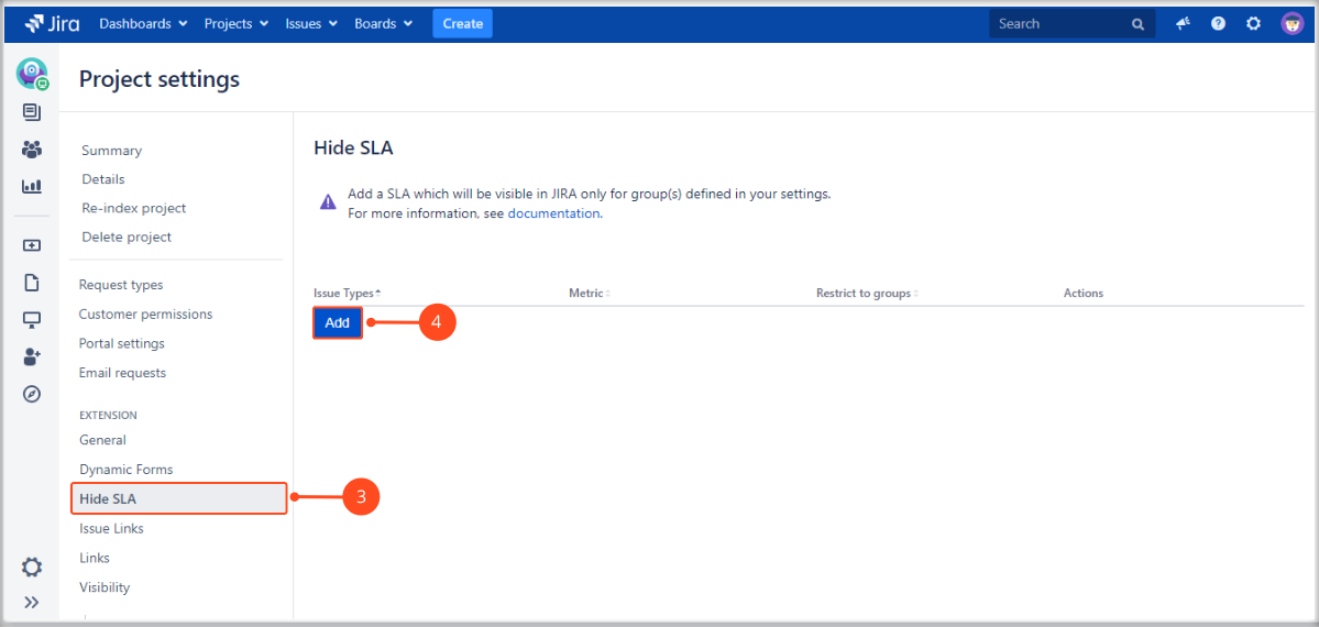 Creating the SLA visibility configuration for specific groups with Extension for Jira Service Management in the issue view