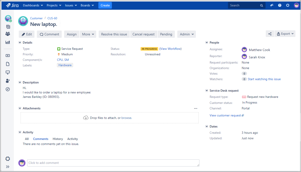 Adding user's IP address custom field with Extension for Jira Service Management in the issue view