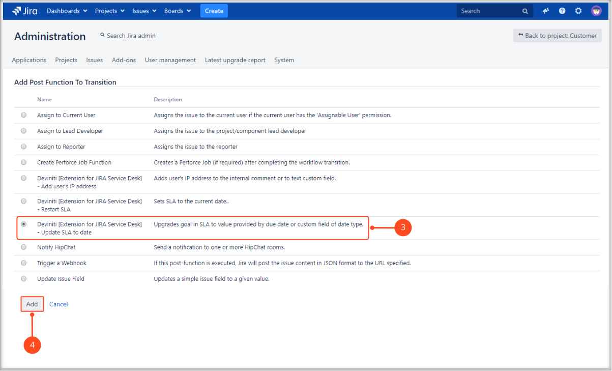 Creating Update SLA to date post function with Extension for Jira Service Desk by adding post function to transition