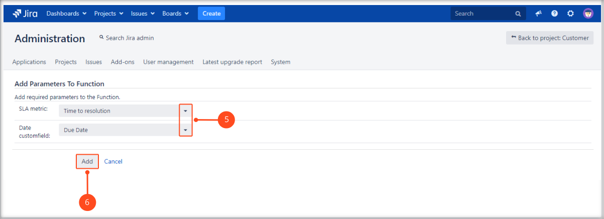 Creating Update SLA to date post function with Extension for Jira Service Desk by adding SLA metric and date custom field