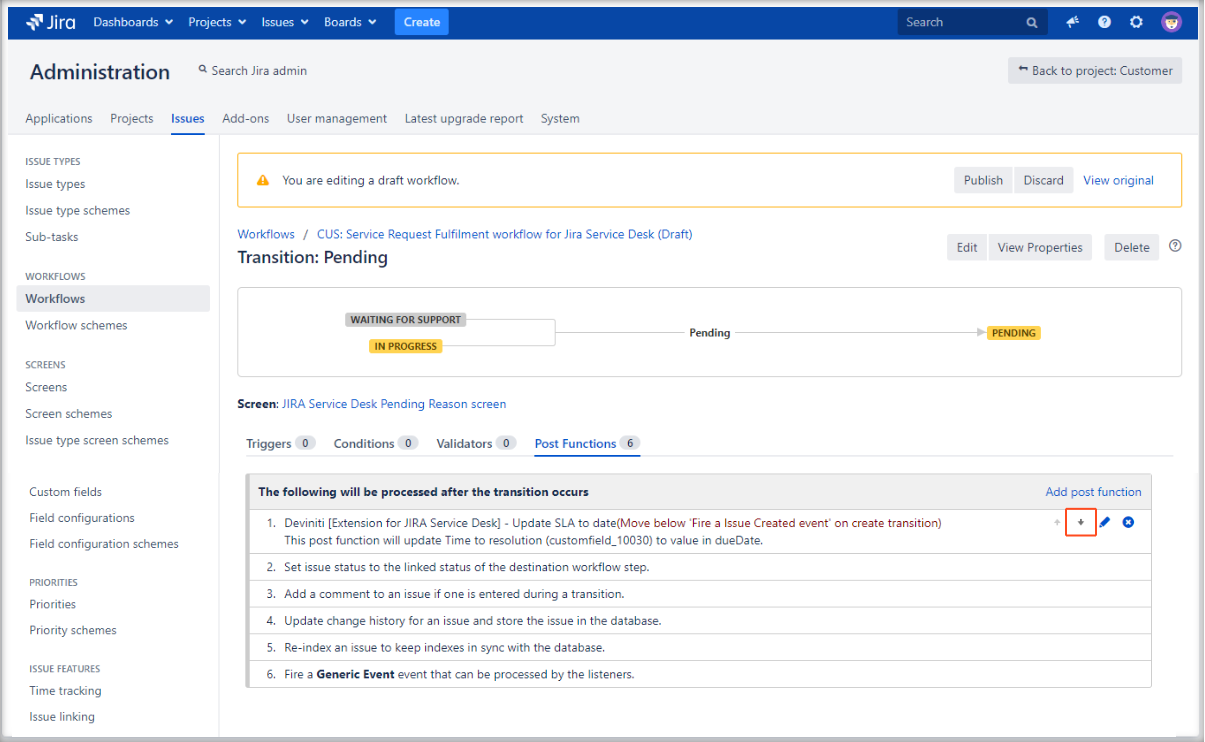 Editing Update SLA to date post function with Extension for Jira Service Desk