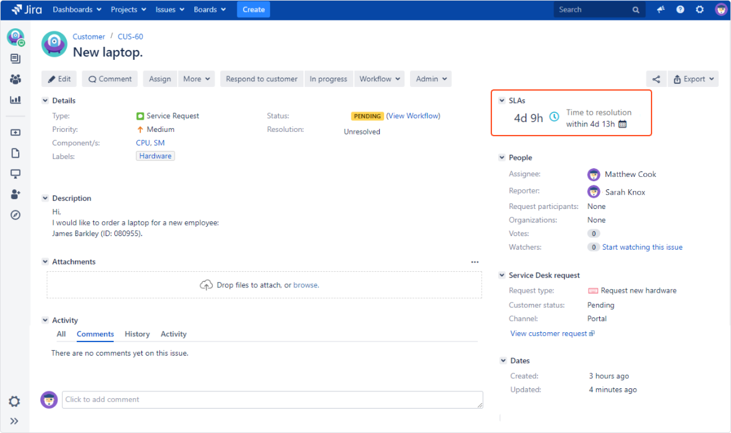 Now you can see how Update SLA to date post function works with Extension for Jira Service Desk in the issue view