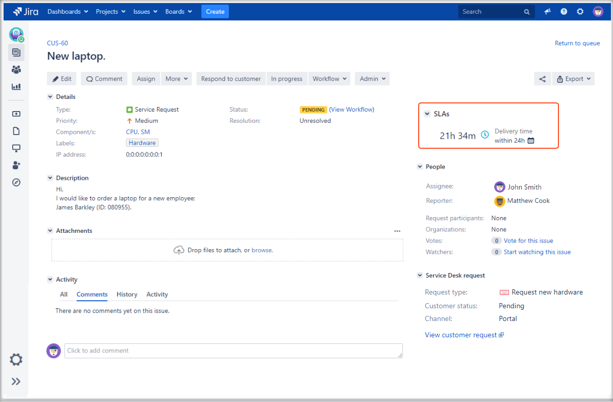 Now you can see how the SLA visibility feature works in the issue view with Extension for Jira Service Management