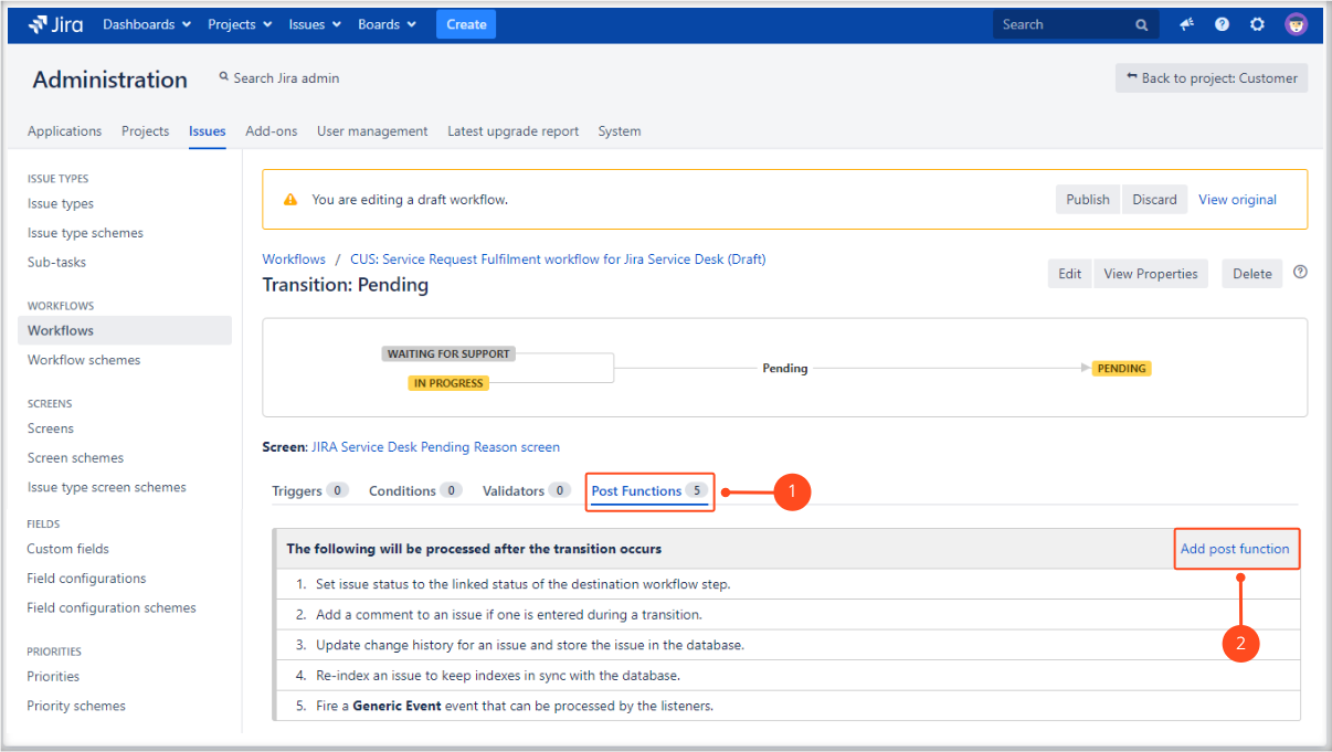 Adding Update SLA to date post function with Extension for Jira Service Desk