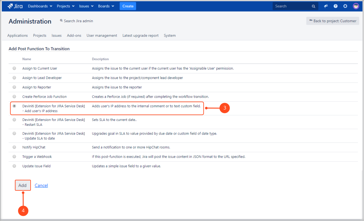 Adding user's IP address post function with Extension for Jira Service Management by adding post function to transition