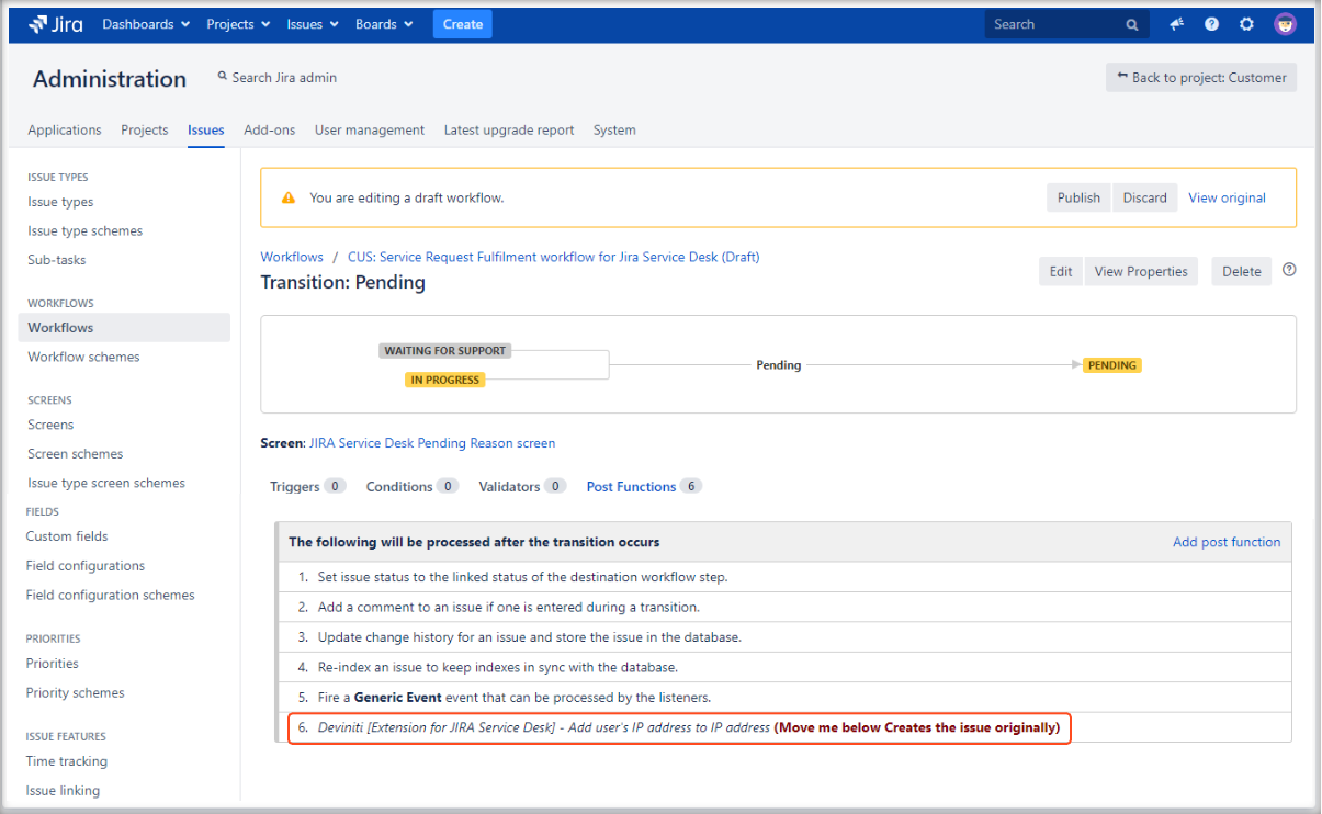 Adding user's IP address post function with Extension for Jira Service Management by editing it
