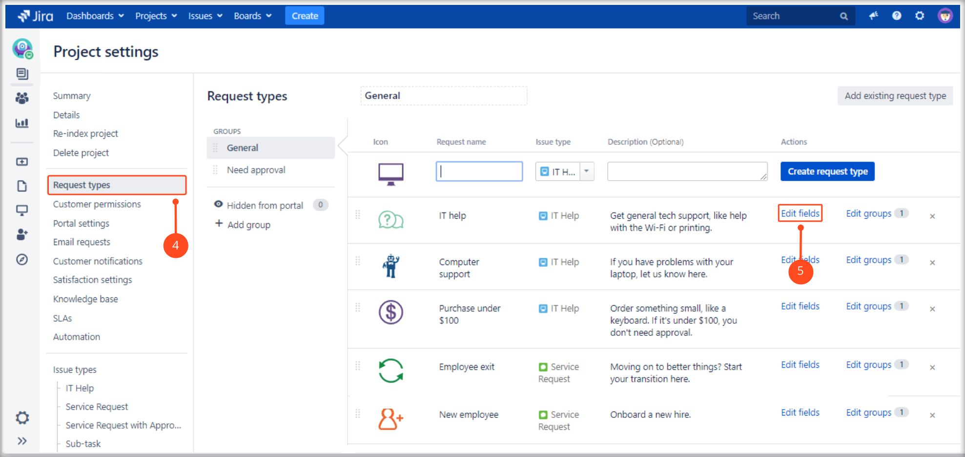 Using a Multilevel Structure with Extension for Jira Service Management by choosing a request type and editing fields